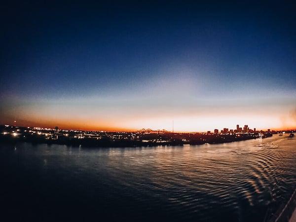 Sunset leaving New Orleans Port