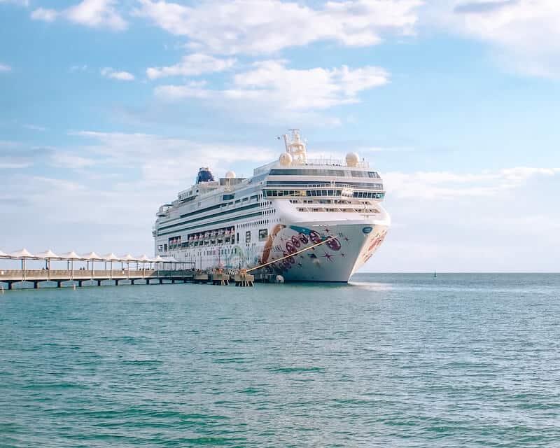 Norwegian Cruise Ship docked in Harvest Caye, Belize