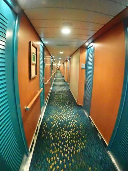 Norwegian Pearl corridor with the fish carpet