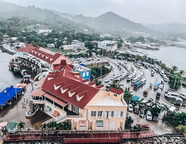 Rainy day at Coxen Cole Cruise Port, Roatan