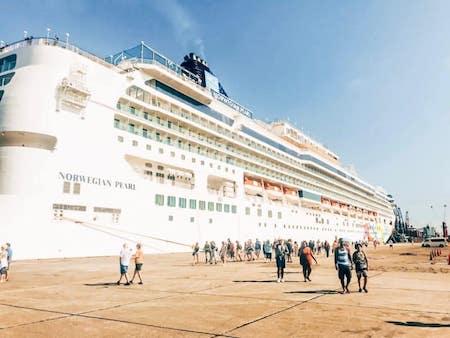 Norwegian pearl cruise ship docked in Santo Tomas de Castilla, Guatemala