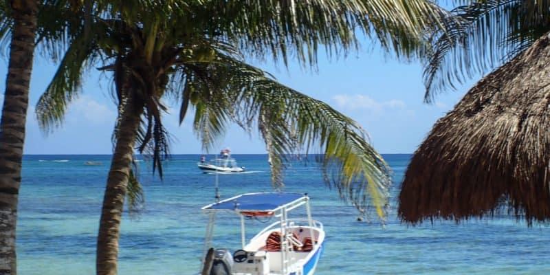 Beach and boat view from the road exploring Costa Maya Port • Costa Maya Mexico (Mahahual) •TastyItinerary.com