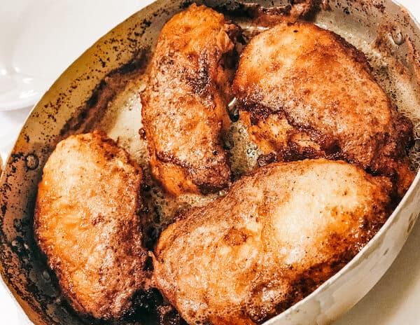 Pan fried crispy buttered chicken