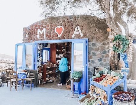 Produce market in Santorini Greece