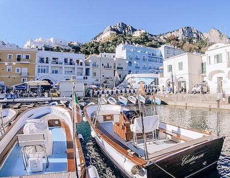 Boats docked in the port of Capri, Italy