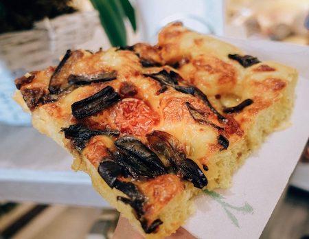 slice of fresh square pizza in Capri, Italy
