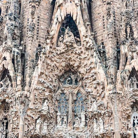 Close-up of the intricate artwork of La Sagrada Familia