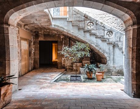 Inside a beautiful traditional courtyard in Girona, Spain