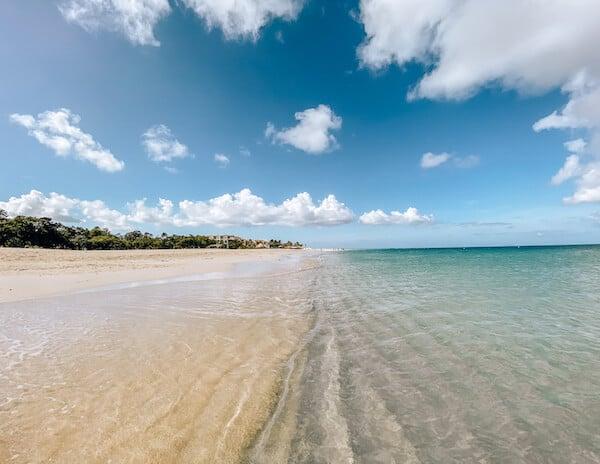 Empty sandy white sand beach and clear ocean water in Aruba