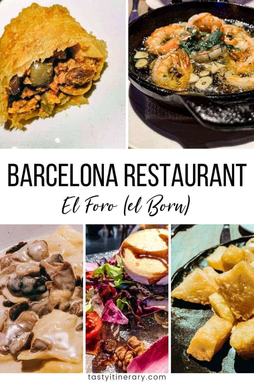 Dinner items from El Foro Restaurant in Barcelona, Spain
