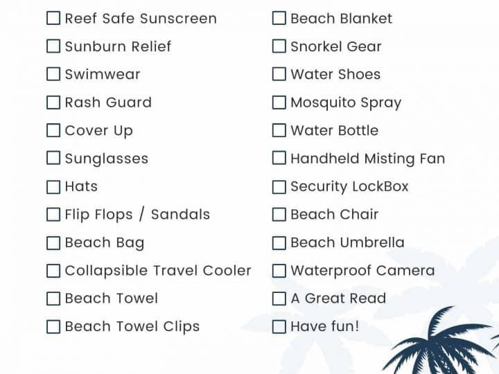 beach packing check list
