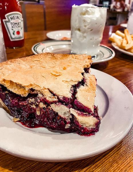 slice of boysenberry pie
