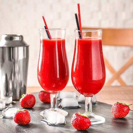 two strawberry daiquiris