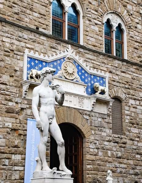 Copy of David standing outside of Piazza della Signoria