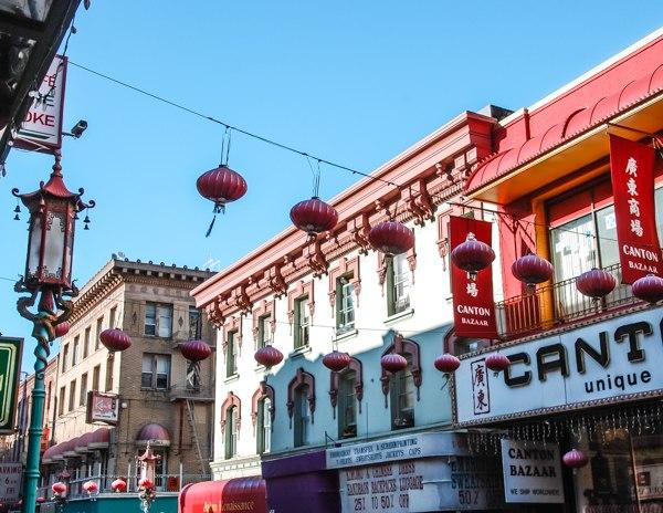red lanterns hanging in chinatown san francisco