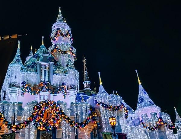 sleeping beauty castle at christmas